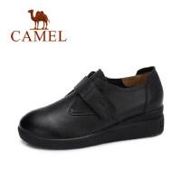 camel 骆驼女鞋 秋冬新品 头层牛皮鞋简约英伦舒适魔术贴低帮女单鞋