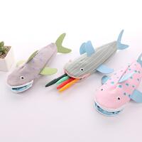 时尚创意铅笔袋 学生帆布文具收纳袋韩版创意 趣味个性鲨鱼笔袋