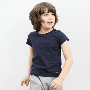 AMII童装2017秋装新款男童短袖T恤中大童纯色上衣儿童绣花打底衫.