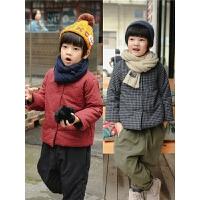 儿童棉衣男童宝宝冬装格子夹棉外套