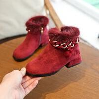 女童靴子秋冬短靴公主磨砂加绒水貂毛侧拉链中大童时装靴