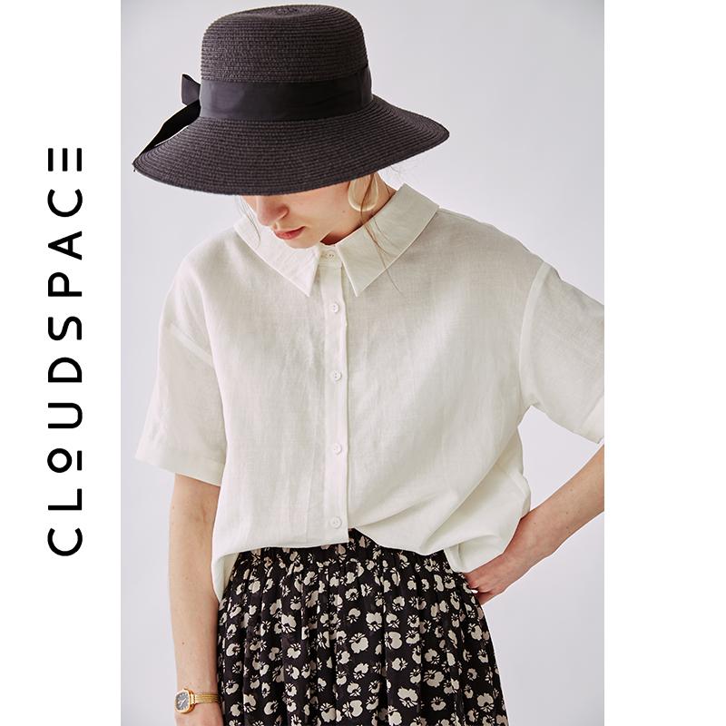 云上生活 夏装新款纯色气质衬衣短袖文艺棉麻衬衫女