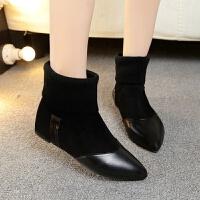 尖头短靴女平底2018秋冬新款韩版磨砂平跟裸靴网红大码短筒马丁靴