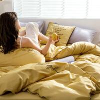 床上四件套全棉纯棉床上用品简约60支刺绣被套床单欧式床品 2.0m床 被套220x240cm
