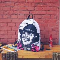 韩版个性涂鸦彩虹双肩包校园中学生书包女 大学生潮流旅行背包