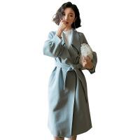毛呢外套女秋冬2018新款流行赫本风森系小个子冬季中长款呢子大衣 浅蓝色大衣外套 S