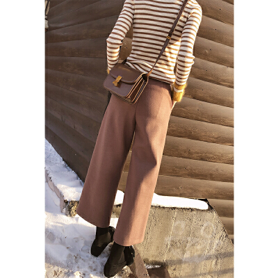 谜秀休闲裤女秋冬装2017新款韩版宽松chic阔腿裤长款