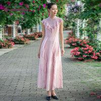 生活在左2019夏季女装新品无袖连衣裙文艺气质显瘦中长款裙子仙女