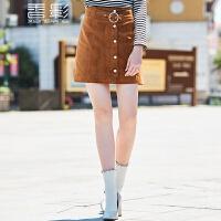 香影鹿皮绒半身裙 2017冬装新款时尚高腰A字裙修身显瘦短裙百搭+