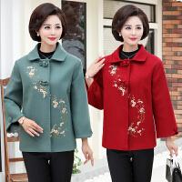 秋冬季绣花呢子大衣短款韩版中年人上衣妈妈装毛呢外套中老年女装