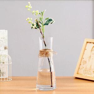 御目 摆件 简欧彩色麻绳透明玻璃花瓶客厅餐桌家居装饰摆设水培花器花盆彩色麻绳代培透明花瓶防滑素雅 创意家饰