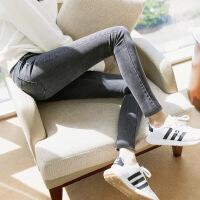 №【2019新款】冬天美女穿的深灰色一体绒加绒牛仔裤女韩版加厚带绒长裤高腰显瘦小脚裤潮