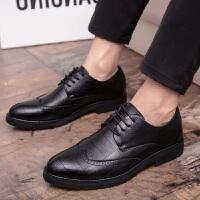 男士皮鞋夏季英伦商务正装皮鞋男布洛克真皮透气休闲鞋韩版潮男鞋