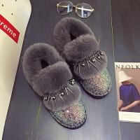 【】19秋冬亮片短筒雪地靴女加绒加厚百搭豆豆棉鞋休闲毛毛鞋