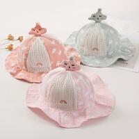 夏天女宝宝遮阳帽薄款遮阳帽韩版公主帽女孩透气太阳帽婴儿凉帽子