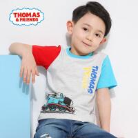 【直降】托马斯正版童装男童夏装简约卡通拼接撞色短袖纯棉全棉T恤上衣