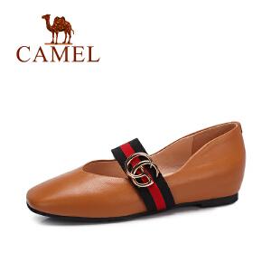 camel/骆驼女鞋 2017秋季新款 百搭浅口单鞋女复古内增高方头玛丽珍鞋