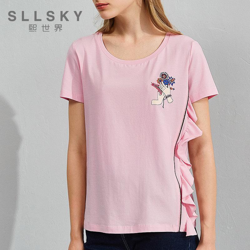 熙世界夏季新款圆领印花短袖t恤女上衣112ST067