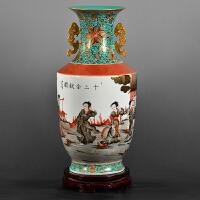 景德镇陶瓷花瓶手绘仿古雍正粉彩十二金钗家居装饰品收藏*摆件