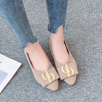 秋季2019新款纯色低帮单鞋时尚欧式潮流低跟单鞋尖头粗跟套脚百搭