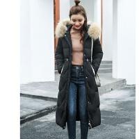 棉衣女潮中长款冬装女士修身宽松型服冬季外套棉袄 M 建议80-100斤