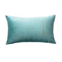 抱枕北欧风丝绒抱枕套靠垫ins沙发可拆洗大靠枕套不含芯客厅靠背 浅绿色 腰枕印金