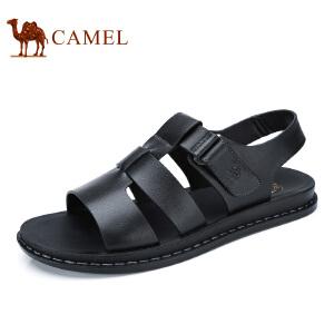 camel骆驼男鞋  夏季新品 牛皮露趾沙滩凉鞋日常休闲透气凉鞋男款