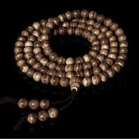 印尼加里曼丹沉香手串佛珠手链108颗虎纹木念珠情侣