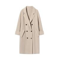 赫本反季双面尼羊绒大衣女小个子中长款2018新款韩版高端毛呢外套 米白色 现货