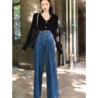 韩风春季套装女两件套洋气百搭黑色打底针织毛衣+高腰牛仔阔腿裤