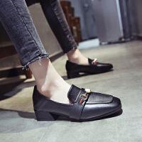 小皮鞋女英伦2019新款韩版百搭森系学院风学生单鞋两穿中跟女鞋 黑色 小皮鞋