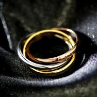 三环三色钛钢情侣食指戒中指戒指环戒指 韩国时尚玫瑰金钛钢三环戒指女饰品