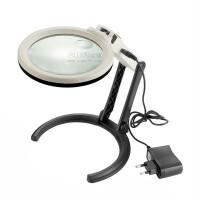 OUJIN可折叠式支架台式放大镜LED灯可直插电源放大镜 金属台式放大镜阅读电子工作台式放大镜