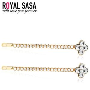 皇家莎莎RoyalSaSa饰品对夹人造水晶发夹发卡子盘发花朵刘海夹边夹韩国头饰发饰
