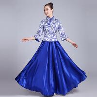 合唱服长裙青花瓷主持人礼服套装中国风古筝演出服女