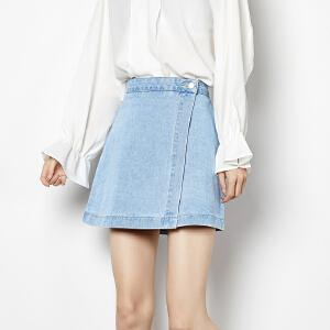 【2件3折价80.7元】唐狮牛仔裙女新款牛仔短裙高腰a字牛仔裙女春季牛仔裙半身裙