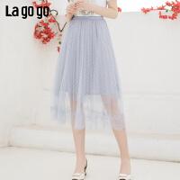 【新品5折价125】Lagogo/拉谷谷2019年夏季新款时尚女网纱蕾丝半裙IABB374F45