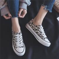 豹纹2019新款春夏帆布鞋女鞋女学生韩版平底鞋百搭ins板鞋女智熏鞋超火