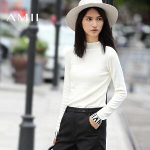 AMII[极简主义]秋冬通勤修身显瘦立领纯色针织毛衣女11632402