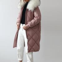 鹅绒羽绒服女中长款2018新款时尚韩版女士反季过膝加厚GC87 粉色
