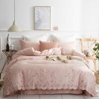 四件套全棉纯棉长绒棉欧式贡缎刺绣床单被套1.8m床单双人床上用品