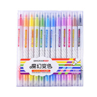 金万年魔幻变色笔 12色双头荧光笔 手账笔 标记笔 醒目笔 G-0595