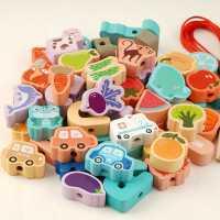 大号颗粒儿童串珠子益智玩具穿绳积木男女宝宝孩1-2一3周4岁早教0