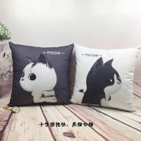 个性礼物十字绣情侣抱枕一对简单绣卡通卧室枕头现代客厅沙发靠垫 黑猫+白猫 1对含枕芯丝线