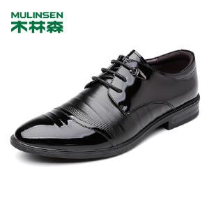 木林森男鞋商务正装鞋尖头橡胶底漆皮新款头层牛皮耐磨时尚男士英伦结婚鞋子77053002