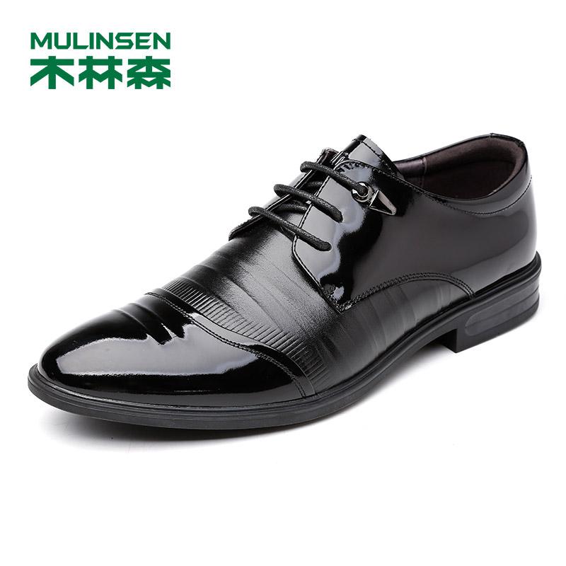 木林森男鞋商务正装鞋尖头橡胶底漆皮新款头层牛皮耐磨时尚男士英伦结婚鞋子77053002新品上市 全国包邮