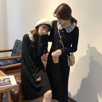 配大衣的长裙子女秋冬2018新款韩版中长款打底裙娃娃领针织连衣裙
