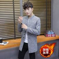 秋冬季加绒加厚呢子大衣男士中长款风衣韩版修身外套帅气潮流男装