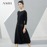 Amii[极简主义]2017秋新直筒一字领蝙蝠袖腰带羊毛连衣裙11741503