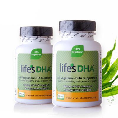 保税区发货/美国直邮 Life's DHA 马泰克Martek 孕妇哺乳期海藻油DHA软胶囊 60粒*2瓶 海外购效期2018.08